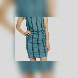 Sundry tealstripe scrunch dress